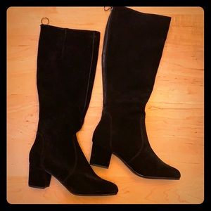 Never worn black suede tall boots